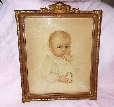 Ornate Carved Gilt Gesso & Glass Antique Frame w/picture of cute baby EUC