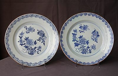 Antique chinese 18th c export blue and white plate a pair