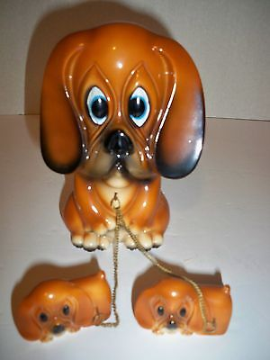 "Vintage Big Sad Eyes Ceramic Hound Figurine With 2 Puppies on Chain~6"" Tall"