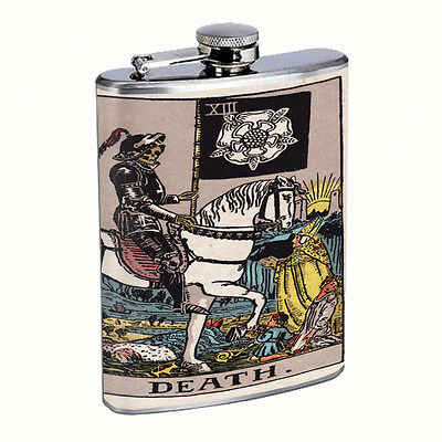Tarot Cards D14 Flask 8oz Stainless Steel Hip Drinking XIII Death