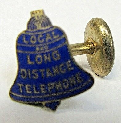 early vintage circa 1900  LOCAL & LONG DISTANCE TELEPHONE enamel cufflink stud +