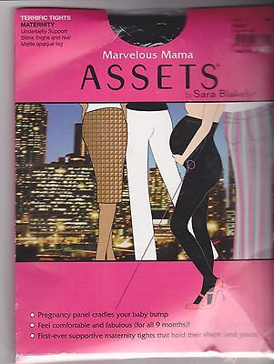 NEW: Marvelous Mama Assets by Sara Blakely Size 2 Black Matte Opaque Tights