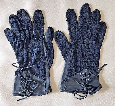 Byrnes and Baker Women's Black Leather Lace Gloves Size M
