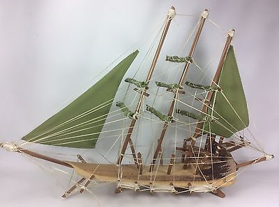 "Vintage MODEL SAILBOAT Tall Ship 32"" Palm Frond Polynesian Hawaiian Wood"
