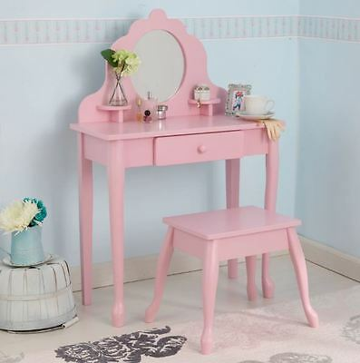 Vanity Set for Girls with Mirror and Bench Kids' Vanity Set