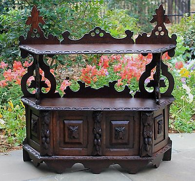 Antique English Highly Carved Oak GOTHIC Hanging Wall Cabinet Spice Rack 19th C