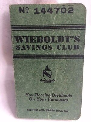 1932 WIEBOLDT'S CHICAGO Department Store Savings Club Booklet COLLECTIBLE RARE!