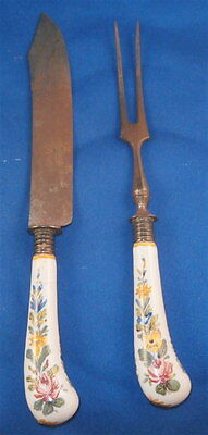 Antique Faience Handle Unknown Knife & Fork German French Italian Fayence