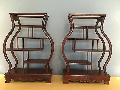 Pair 2 Quality Chinese Solid Rosewood  Wall Curio Display Cabinets LOCAL PICKUP