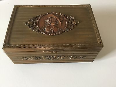 Antique French Brass Copper Jewel Casket Jewelry Trinket Music Box