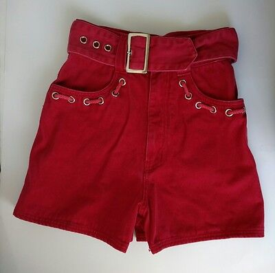 Nada Nuff 3 Red Denim High Waist Self Belt Shorts