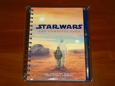 STAR WARS COMPLETE SAGA THE FORCE ON BLU-RAY Official HARDCOVER NOTEBOOK & PEN