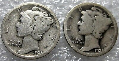 1921 and 1921 D Mercury Dimes 2 coin Lot **Key Dates**