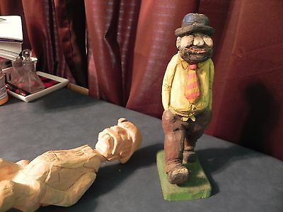 Vintage Hand Carved Wood Hobo Statue Figure and Western Figure Rare