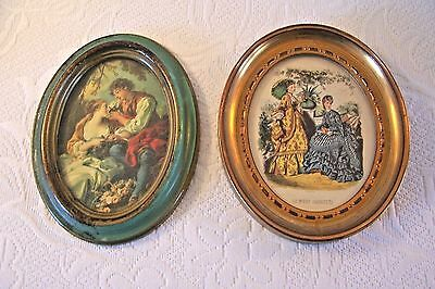 Vintage Italian Florentine Gold Gilt Tole Chic Pictures 2 small oval