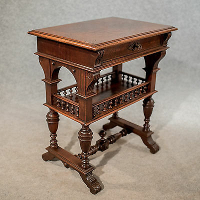 Antique French Sewing Box Work Table in Oak c1900