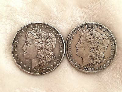 1878 S and 1879 S Lot of 2 Morgan Silver Dollars