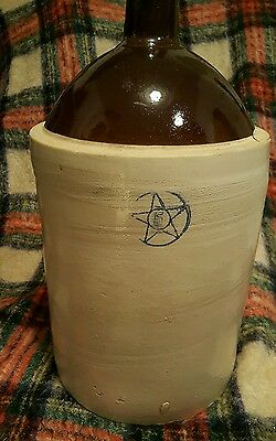 ANTIQUE PRIMITIVE 5 GALLON JUG STONEWARE CROCK W/ BLUE COBALT STAR 5  Excellent!