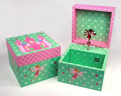Wooden Girls Childs Square Lullaby Music Princess Green Jewellery Fairy Box