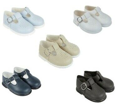 Baypods Baby Boy Punch Detail T-Bar Shoes In Three Colour Sky/white/navy