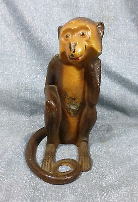 Antique Hubley Full Figure Monkey Cast Iron Doorstop