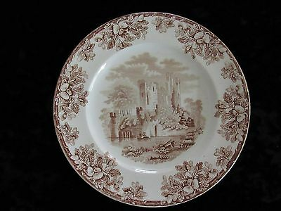 Antique W T Copeland & Sons Brown/White Transferware Luncheon Plate