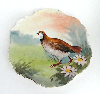Antique Limoges Flambeau Hand Painted Wild Game Bird Plate Artist Signed