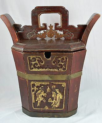 Antique Beautifully Carved Wedding Basket With Locking System ~