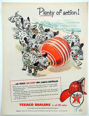 Vtg 1955 Texaco Fire Chief gas Dalmatian dogs advertisement print ad art
