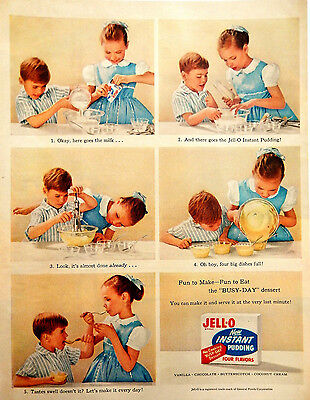 Vintage 1955 Jello Jell-O instant pudding kids advertisement print ad art
