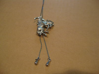 Woman Bolo Tie Silver Tone Necklace Rodeo Cowboy Cowgirl Country Western Jewelry