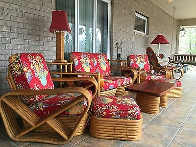 Mid-Century Paul Frankl Pretzel Style Rattan Furniture, 14 pieces LOCAL PICKUP