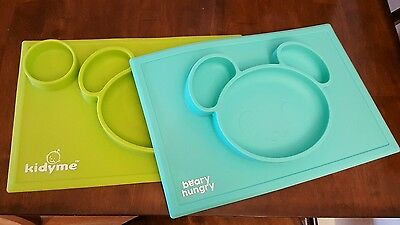 (Lot of 2)Baby One-piece silicone placemat + plate Green Blue