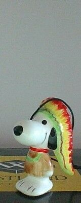 Vintage Peanuts Snoopy Native AmerIcan Ceramic Christmas Ornament Excellent