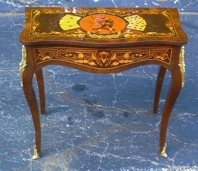 Marvelous Victorian style marquetry console side table  inlaid