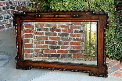 Antique English Jacobean Rectangular Oak Large Framed Beveled Wall Mirror