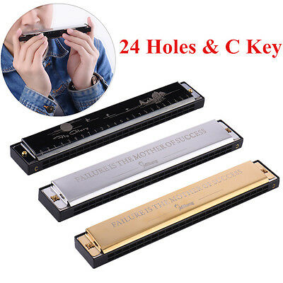 24 Holes 48 Tone C Key Harmonica Tremolo Harmonica Mouth Organ with Storage Case
