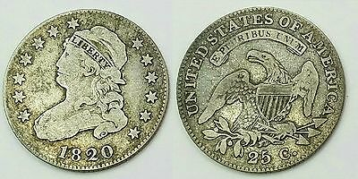 1820 Capped Bust Quarter Dollar 25 Cents Silver Strong Type Coin Better Date