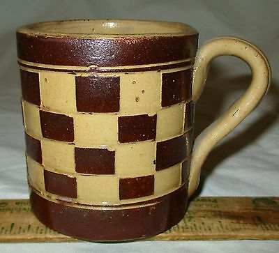 Antique 19thC Slip Decorated Mochaware Mocha Mug Brown Blocks Austria England