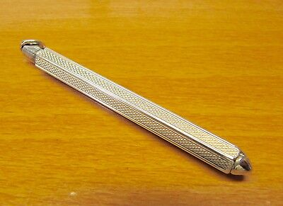 Vintage Sterling Silver Mechanical Retractable Toothpick Engraved