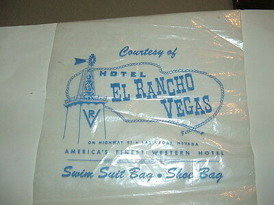 Vintage HOTEL EL RANCHO Vegas Nevada Memorabilia Plastic Swim Suit/Shoe Bag New