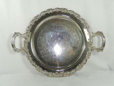 """Vintage Round Silver Plate Tray with Handles, Oneida???, Ornate, 19 1/2"""", GC"""