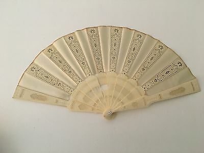 Antique Chinese Export Carved Bone Bovine Hand Held Fan