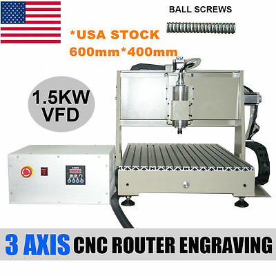 1.5Kw Cnc 6040 3 Axis Router Engraver Machine Drilling Milling Machine+Vfd Usa