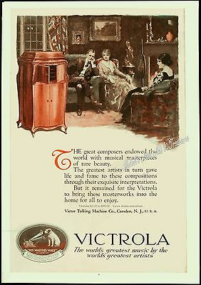1920 VICTOR TALKING MACHINE CO Victrola Master's Voice Dog N PRICE Art PRINT AD