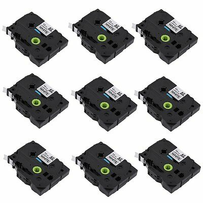 10PK Compatible for Brother P-TOUCH TZ 231 Tze231 12mm Black on White Label Tape