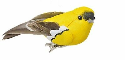 """New Clip-On Feathery Bird Ornaments, 4½"""" Yellow Gold Finch"""