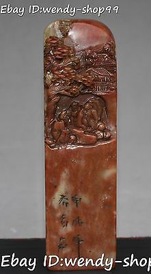China Natural Shoushan Tianhuang Stone Ancient People Man Hill Seal Stamp Signet