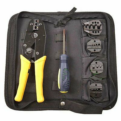 NEW Ratcheting Terminal Tool Crimper Pliers Lug Wire Strippers Cutter w/ 5 Dies