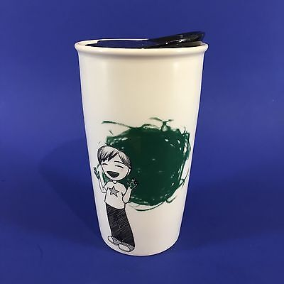 2015 STARBUCKS Boy Finger Painting Ceramic Travel Coffee Mug 12 Oz